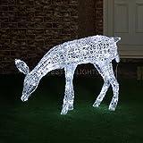 strombetriebene Außen/Innen Weihnachtsbeleuchtung Rentier Acryl-Figur grasend, 260 LEDs blinkend, 95cm