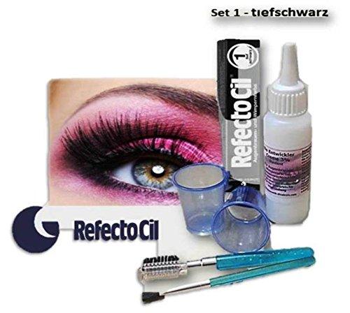 Refectocil BEAUTY FÄRBE SET Wimpernfarbe Augenbrauen Lash Color Intimfärbung Men Bartfarbe (tiefschwarz - 1)