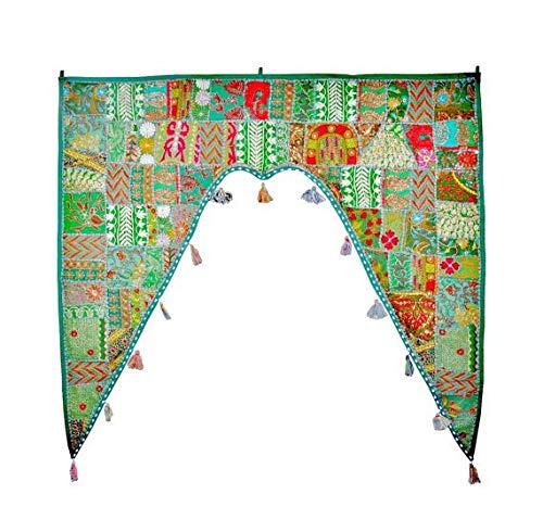 GANESHAM indische Hippie Baumwolle Ethnische Wand hängend Vintage Patchwork Tür Volants handbestickt Toran Fenster Volants Perlen-Tür-Topper