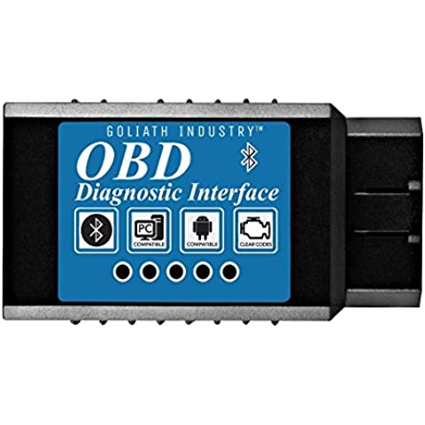 Goliath Industry OBDII OBD2 Bluetooth Coche Diagnóstico Escáner Herramienta - Motor Luz Chequear Inálambrico Datos para Smartphone - Compatible con Android & Windows Dispositivo