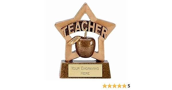Mini Star Teacher Trophy Award 8cm free engraving /& p/&p