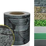 Sichtschutzstreifen PVC | Sichtschutzfolie für den Gartenzaun oder Balkon | inkl. 20 Befestigungsclips | für Einzel- und Doppelstabmatten geeignet | 19 cm x 35 m | einfarbig oder mit Motiv | Merkur-Optik