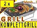 2 x Einweggrill als Campingkocher Klappgrill Faltgrill CAMPING GRILL Grillroste Alu-Grill Einmalgrill Holzkohlegrill (ohne Gasgrill) Einmalgrill