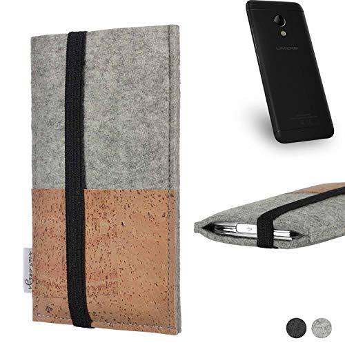 flat.design Handy Hülle Sintra für UMIDIGI C2 Handytasche Filz Tasche Schutz Kartenfach Case Kork