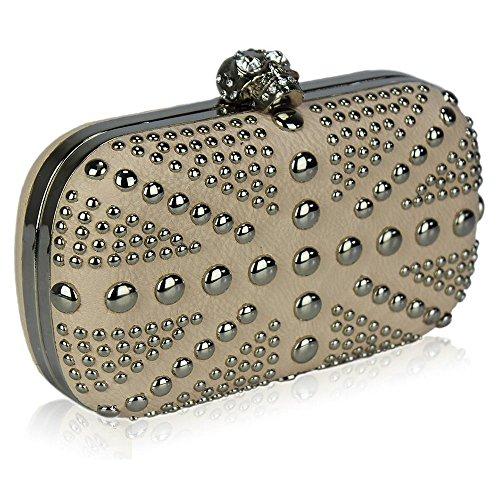 TrendStar Damen Kupplungs Taschen Damen Beschlagene Kristall Abend Abschlussball Partei Taschen Beige