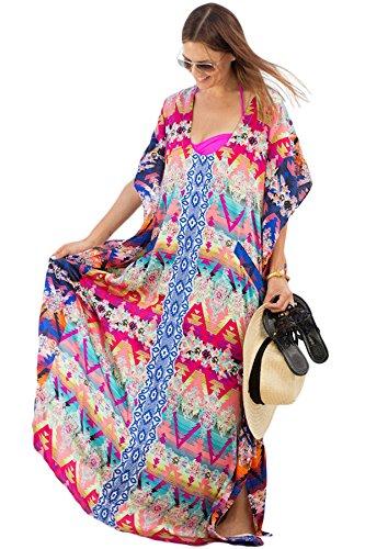 Mesdames Chic Boho Multicolore Ethnique Vacances Mousseline de soie Pur Caftan Robe Couvrir Motif-4