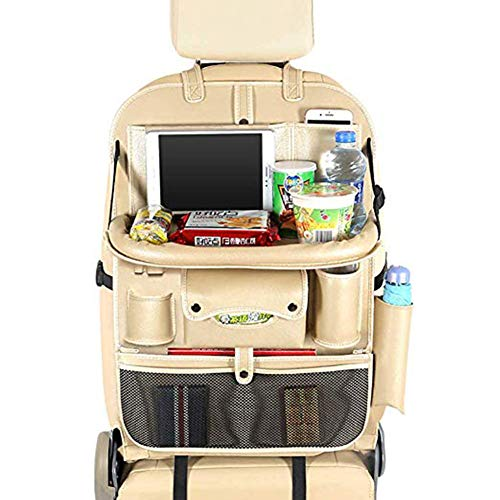Hywot Car Seat Back Organizer mit 4 USB-Ladestation Aufbewahrungstasche Tablet Handyhalter mit Aufbewahrung und Schutz Trittmatte für mehrere Taschen Rücksitz,Beige