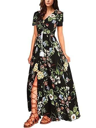 Wajat vestito lungo estate vestito v collo stampa maniche for Amazon vestiti bambina