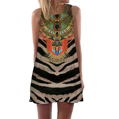 Eleery Damen armlos Schwarz Weiss Welle Kleid Afrika Style mini Bluse Kleider - Preiswerte Kostüm