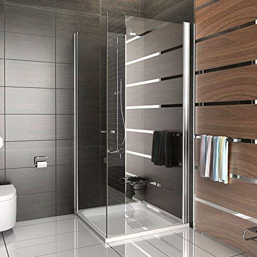 Duschkabine aus ESG Echtglas 90x90 cm mit Eckeinstieg und Hebe-Senk Mechanismus