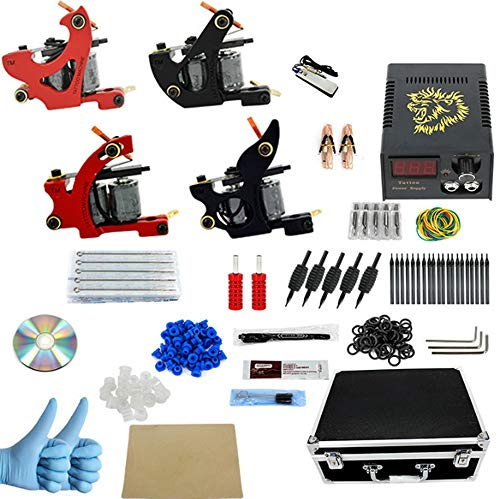 (Extreme Tattoo Kit 4 Pro Tattoo Machines Rotary Machine Coil Gun Power Supply Disposable Needles Tip Foot Pedal)