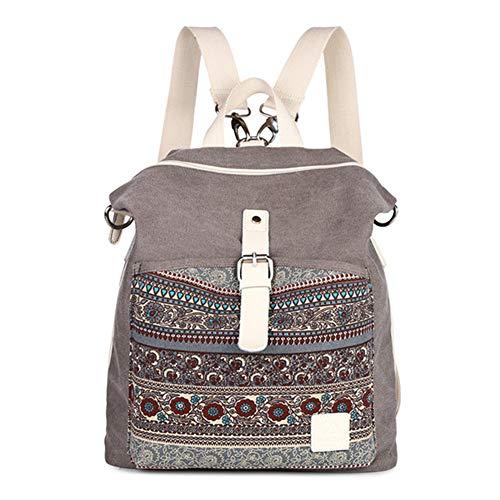 WENDYRAY Weinlese-leichter Druckmuster-Segeltuch-Rucksack Schulrucksack für junge Mädchen Damenrucksack,2,M (Personalisierte Schulrucksäcke Für Jungen)