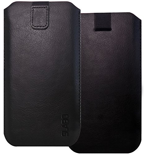 """Slabo XL Schutzhülle für Smartphones bis 6,0 Zoll Schutztasche Handyhülle aus """"PU-Leder"""" mit Magnetverschluss - schwarz"""