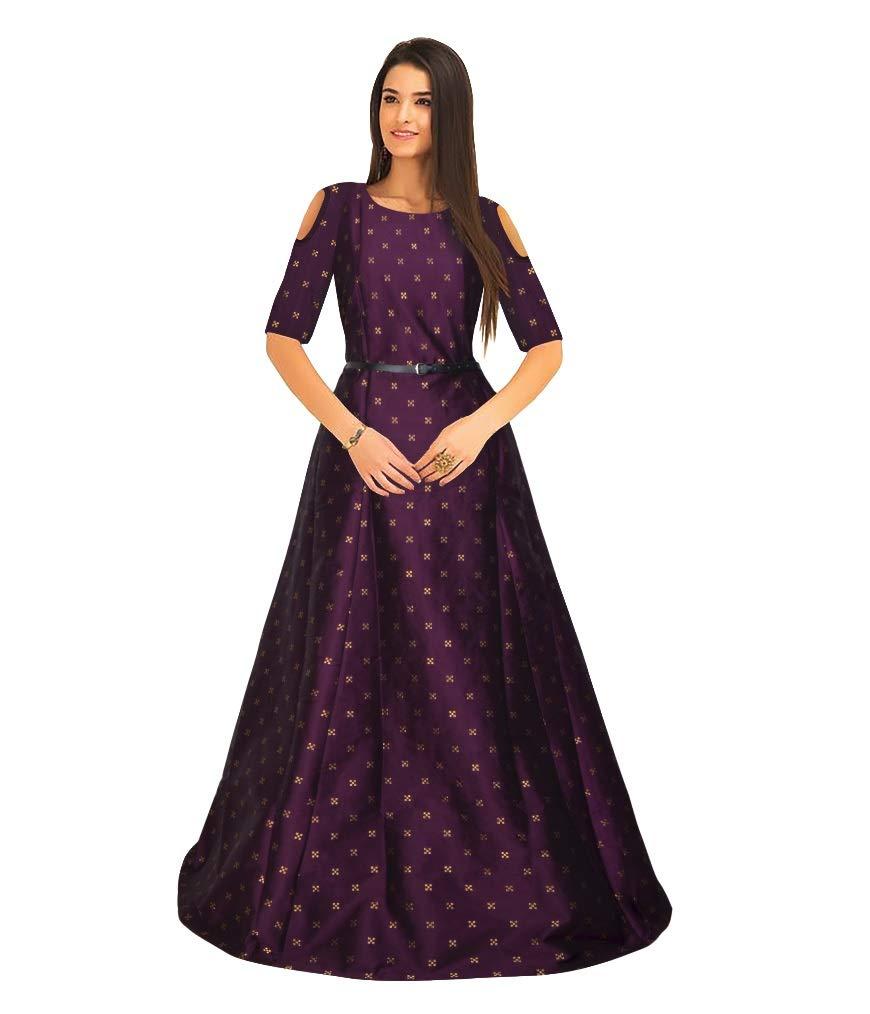 dc133cdd6ab Bhurakhiya Women s Jacquard Taffeta Fancy Silk Bridal Gowns (Free L Size 2148)