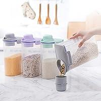 AnseeDirect Cereal Container Recipientes para Alimentos con Taza de Medir Sin BPA 4.4 Lbs / 2KG Tarros Hermeticos Plastico para Harina, Azúcar, Arroz, Smal, Cereales (Gris)