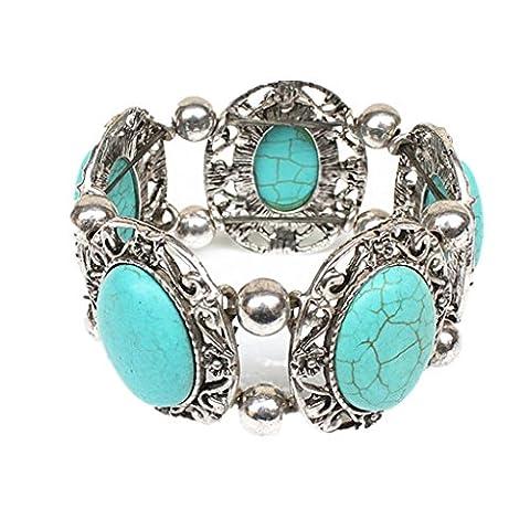 MagiDeal Turquoise Bracelet Argent Tibétain Style Bohème Bracelet Extensible pour