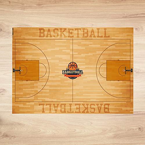 trendaffe Basketball Schreibtischunterlage mit 25 Blatt - Basketball Court Schreibunterlage Basketball Spielfeld -
