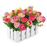 Jarown Weißer Lattenzaun mit Seidenrose Künstliche Blumen Mini Garten Garten Holz Vase für Schreibtisch Hochzeit Dekorationen rose