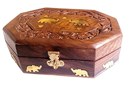 Wooden Jewelry Box Octagonal Handcrafted Twin Elephant Brass Inlay & Wood Carvings by Super India
