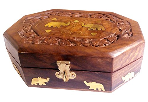 Wooden Jewelry Box Octagonal Handcrafted Twin Elephant Brass Inlay & Wood Carvings 8x5 Inches by Super India (Utility-organizer-box)