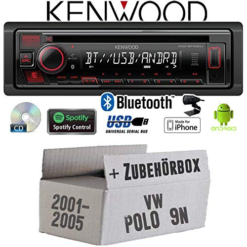 Autoradio Radio Kenwood KDC-BT430U - Bluetooth | Spotify | CD/MP3/USB - Einbauzubehör - Einbauset für VW Polo 9N - JUST SOUND best choice for caraudio