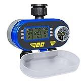 Aqualin LCD Display Magnetventil Bewässerungsuhr mit Zwei Anschlüsse Wasserdicht Deckel Automatische Digitale Wasserzeitschaltuhr Bewässerungscomputer für Garten Hof