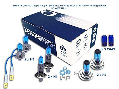 IMIP - SMART FORTWO Coupe (450) 0.7 (450.331) | Kit d'ampoules de phares au Xenon Super Blanc H3 W5W H7 H1