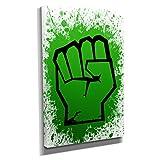 Nerdinger Incredible Fist - Kunstdruck auf Leinwand (30x45 cm) zum Verschönern Ihrer Wohnung. Verschiedene Formate auf Echtholzrahmen. Höchste Qualität.