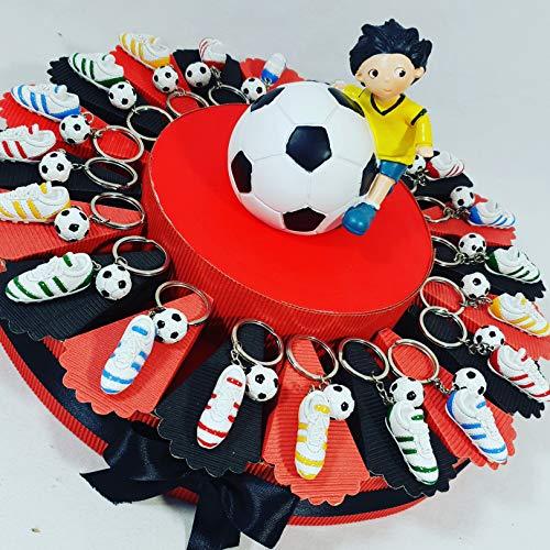 Bomboniere calcio portachiavi scarpette calcio con pallone confezione su torta bomboniera squadra del cuore (torta 20 fette milan)