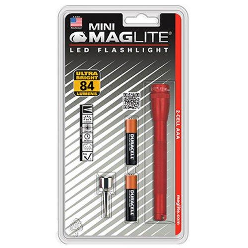 Mag-Lite LED Mini AAA Taschenlampe bis zu 84 Lumen, 12,5 cm, inkl. 2 Micro-Batterien und Taschenclip, rot, SP32036
