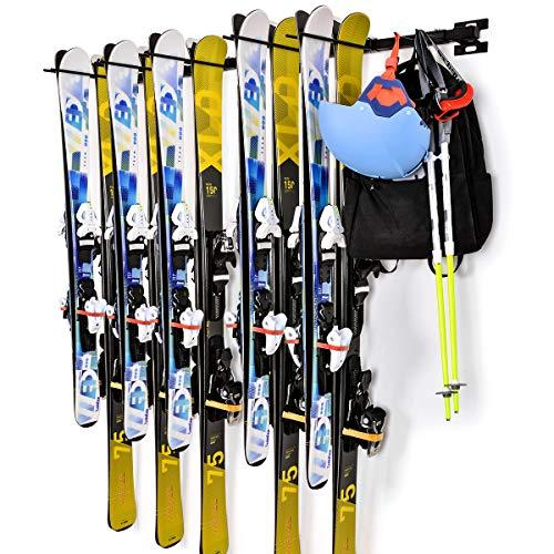 Sunix Soporte de Pared para esquí, Soporta 10 Pares Estante de Almacenamiento de ski y Snowboard para el hogar y Garaje de Montaje en la Pared Soporta, 2 Paquetes
