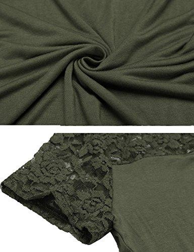5775be305693 ... Zeagoo Damen Kurzarm T-Shirt Aus Floral Spitze Basic Shirt Spiztenshirt  Tunika Baumwolle Tops Hemd