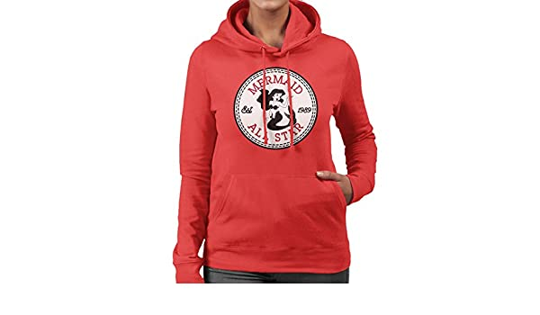 a5af8e581110 Little Mermaid Ariel All Star Converse Logo Women s Hooded Sweatshirt   Amazon.co.uk  Clothing