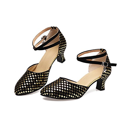 GUOSHIJITUAN [Frauen Pailletten Latein Tanzschuhe,Wildleder [Leise Unten] High Heel Salsa Dancing Schuhe Tango Soziale Tanzschuhe-A Fußlänge=23.3CM(9.2Inch)
