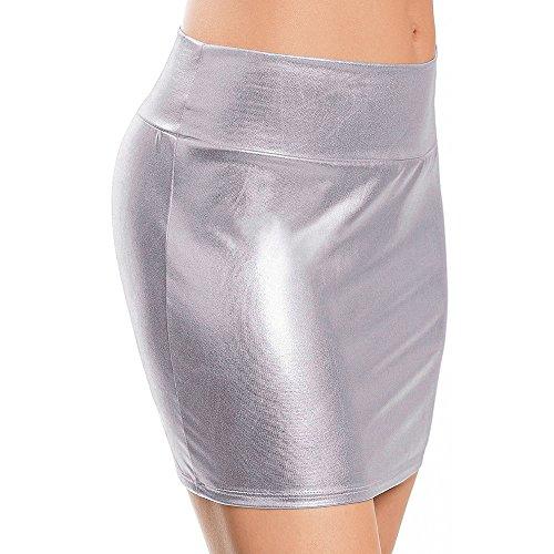 BHYDRY Frauen-Kunstleder-Wäsche-Rock-dünne Hinterteile kurzer gerader Minirock(Einheitsgröße,)
