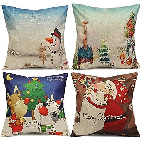 Navidad Pap‡ de lino del algod—n Throw Pillow caso de la cubierta del amortiguador del sof‡ del coche Inicio