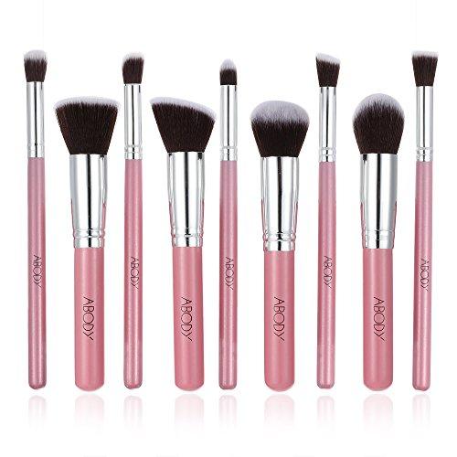 Abody 9Pcs Kit Maquillage de maquillage /brosse cosmétique/ pinceau de make-up Brush Set cosmétique professionnelle en Bois