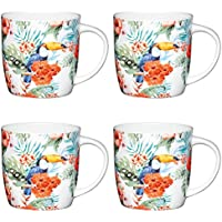 Kitchencraft de Fine Tucán Barrel-Shaped Printed Mugs de Pájaros, 425ML (Juego de 4), Bone China, Multi/Colour, 8,9x 12,4x 9cm