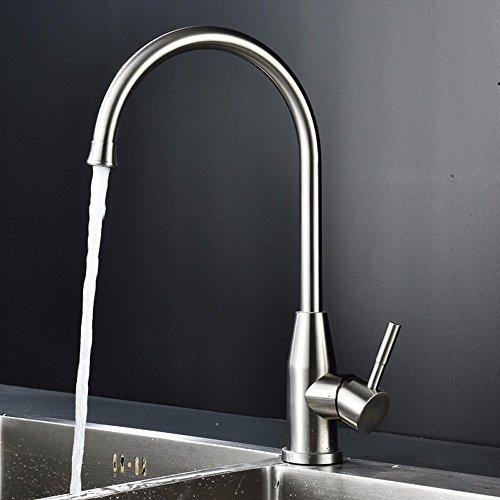 QMPZG-Edelstahl Küchenarmaturen, 304 Wasserhahn, warme und kalte Mischung pflanzlicher Spültischarmatur - 4