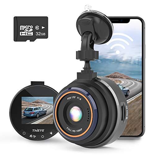 THIEYE Caméra de Voiture WiFi FHD 1080P Caméra de Tableau de Bord pour Voiture avec Condensateur de Vision Nocturne Grand Angle 170 ° WDR, Enregistrement en Boucle Safeel Zero Plus