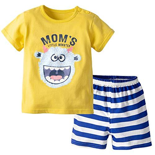 Baby Jungen T-Shirt und Shorts 2pcs Kleidung Set Sommer Outfits Kleinkind Bekleidungsset Kurzarm Tops Kinder Party Niedlich Baumwolle Print Babykleidung Monster 9-12 Monate