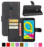 HualuBro Alcatel U5 3G Hülle, Leder Brieftasche Etui Tasche Schutzhülle HandyHülle [Standfunktion] Leather Wallet Flip Case Cover für Alcatel U5 3G (Schwarz)