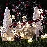 Weihnachtsdekoration Lichterkette Batterie, Schneehaus Neujahr Dekorative Beleuchtung 10 ft 20 LEDs (großes Symbol) mit Fernbedienung für Weihnachtsbaum, DIY Home Geburtstag Hochzeitsfeier