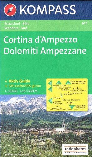 Cortina d'Ampezzo, Dolomiti Ampezzane (Dolomites) 1:25k carte de randonnée topographique N ° 617 Kompass par KompassMaps