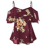 Luckycat Shirts Damen Sommer Große Größen Blumendruck Kurzarm Oberteil Bluse Top Hemd T-Shirts Mode 2018