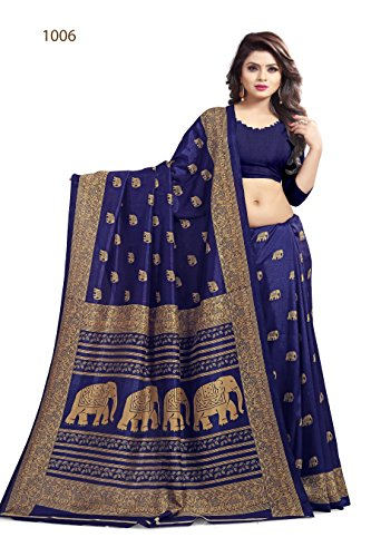 Saree Center Cotton Silk Saree (Blue, Free Size)