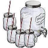 Vavent Getränkespender 4 Liter Set Premium aus Einmachglas mit Metall Zapfhahn und 4 Krügen mit Strohalmen