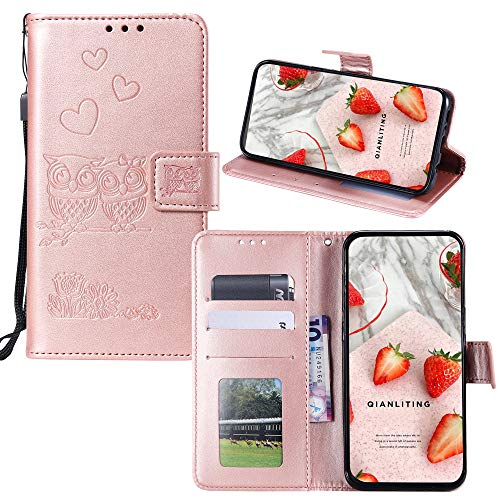 JZ K8 (8) Wallet Funda [3D Embossed][Owl and Flowers & Love] PU Leather  Phone Flip Cover para LG Aristo 2/Zone 4/Phoenix 4/Risio 2 - Rose Gold