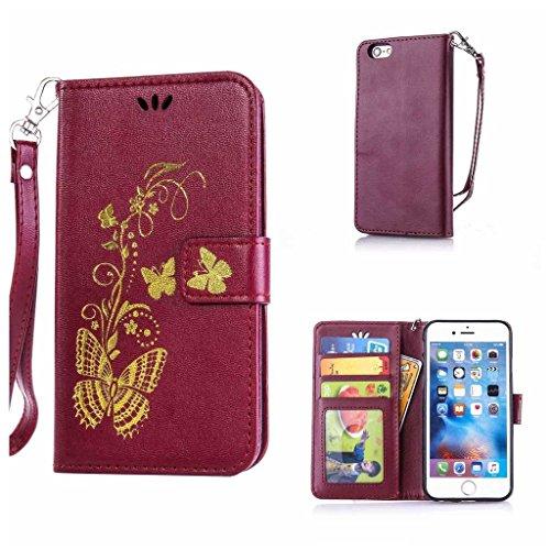 iPhone 7 Plus Hülle Ledertasche [mit Frei Hartglas Displayschutzfolie], KKEIKO® Schutzhülle PU Leder Tasche Hülle Case für Apple iPhone 7 Plus, Wickelfalz Handyhülle mit Bändselloch Standfunktion Kart Schmetterling #5