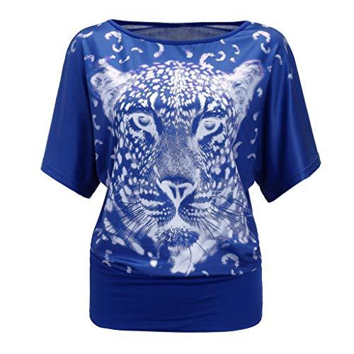 SEWORLD Oberteil Damen Sommermode Tierdruck O-Ausschnitt Kurzarm Lässige Tops T-Shirt Bluse Trägershirt Tank Top Blusen T-Shirt Tunika Tee Oberseiten Hemd kostüme(Blau,EU-46/CN-XXL) Animal Print Tank Kleid